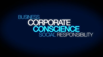 Corporate conscience CSR social responsibility words tag cloud