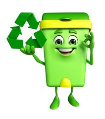 Dustbin Character with recycle sign