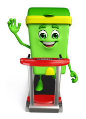 Dustbin Character with walking machine