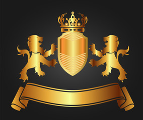 Vector illustration of shield golden lion, crown, ribbon
