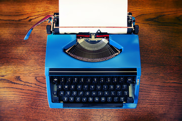 vintage blue typewriter high angle