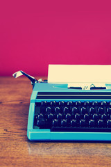 retro typewriter pink wall