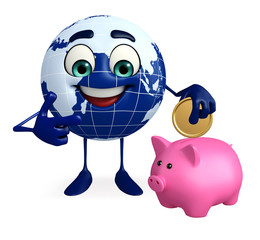 Globe Character with piggy bank