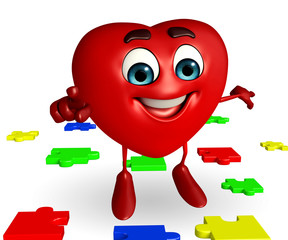 Heart Shape character with puzzel