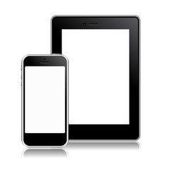 modern phone, tablet on a white background