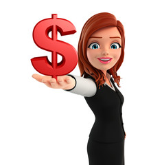 Young Business Woman with dollars sign