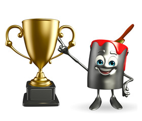 Paint Bucket Character with trophy