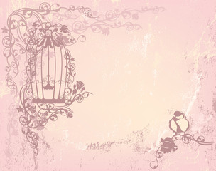 vintage rose garden with open cage and bird