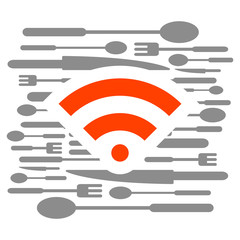 Kitchen colored menu logo wifi web