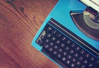 retro blue typewriter