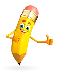 Pencil Character is thumbs up pose