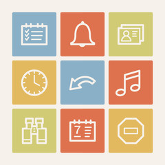 Organizer web icons, color square buttons