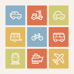 Transport  web icons, color square buttons