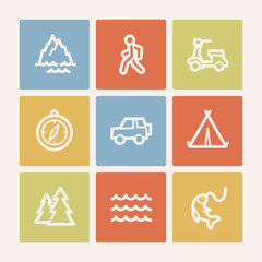 Travel web icon set 3, color square buttons