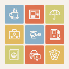 Travel web icon set 4, color square buttons