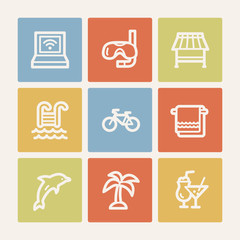 Vacation web icons, color square buttons