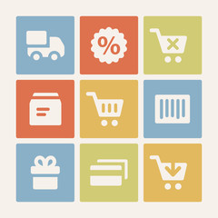 Shopping web icons set. Color buttons.