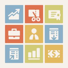 Finance web icons set. Color buttons.