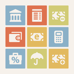 Finance web icons set. Color buttons.