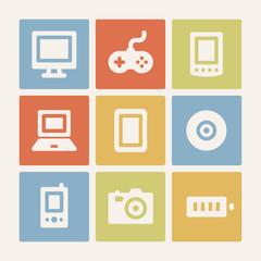 Electronics web icons set. Color buttons.