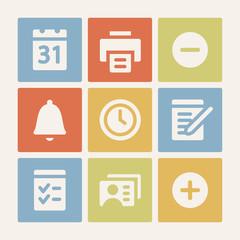 Organizer web icons set. Color buttons.