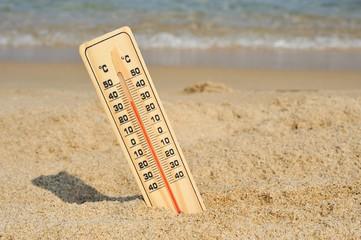 夏の海と温度計
