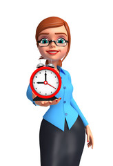 Young office girl with table clock