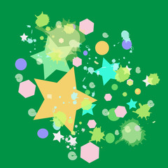 colorful star on green background