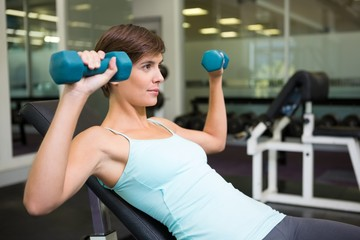 Fit brunette lifting dumbbells on bench