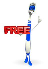 Toothbrush Character with free text sign