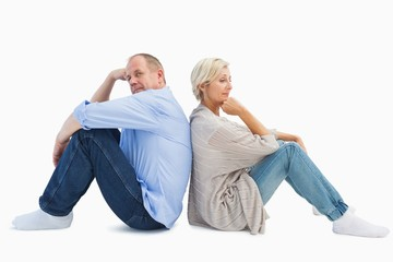Upset mature couple not talking
