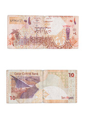 qatar ten riyals ticket isolated