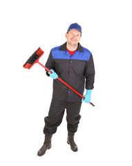Man with cleaning broom.