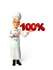 Young chef with percent sign
