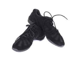 Black leather dance sneakers.