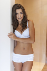 Beauty natural woman in white underwear