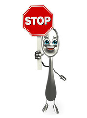 Spoon character with stop sign