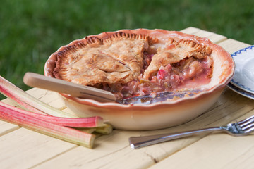 Fresh baked rhubarb pie on picnic table