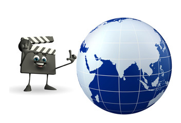 Clapper Board Character with globe