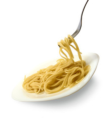 Isolated image of a plate of pasta on a white background