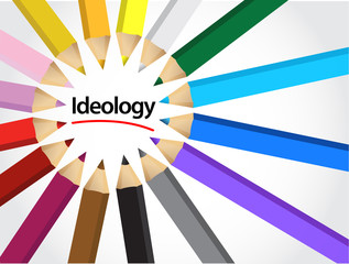 ideology sign color pencils illustration
