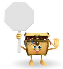 Treasure box character with  stop sign