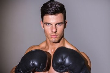 Close-up portrait of a shirtless muscular boxer