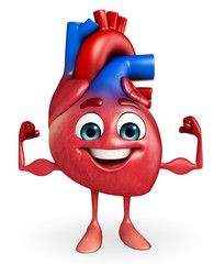Heart character with bodybuilding