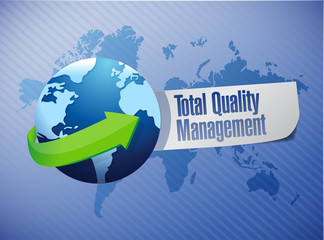 total quality management globe sign illustration