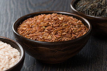 red rice in ceramic bowl