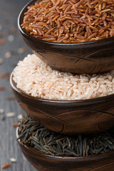 red, wild and pink rice in a ceramic bowl, close-up