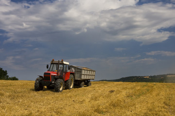 Tractor on a field, Poland