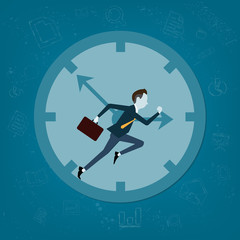 Vector business man  competitive with business time background