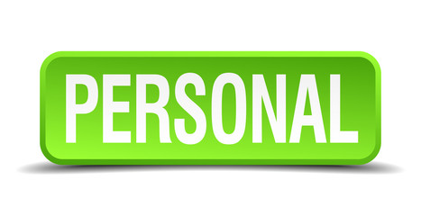 Personal green 3d realistic square isolated button